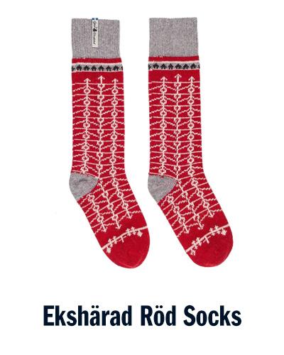Ekshärad Röd Socks   Öjbro Vantfabrik